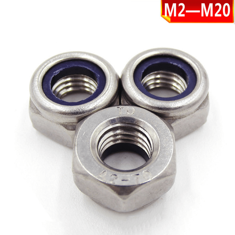 304 201 stainless steel locknut, self-locking nylon nut. Stainless steel nylon nut M2-M24