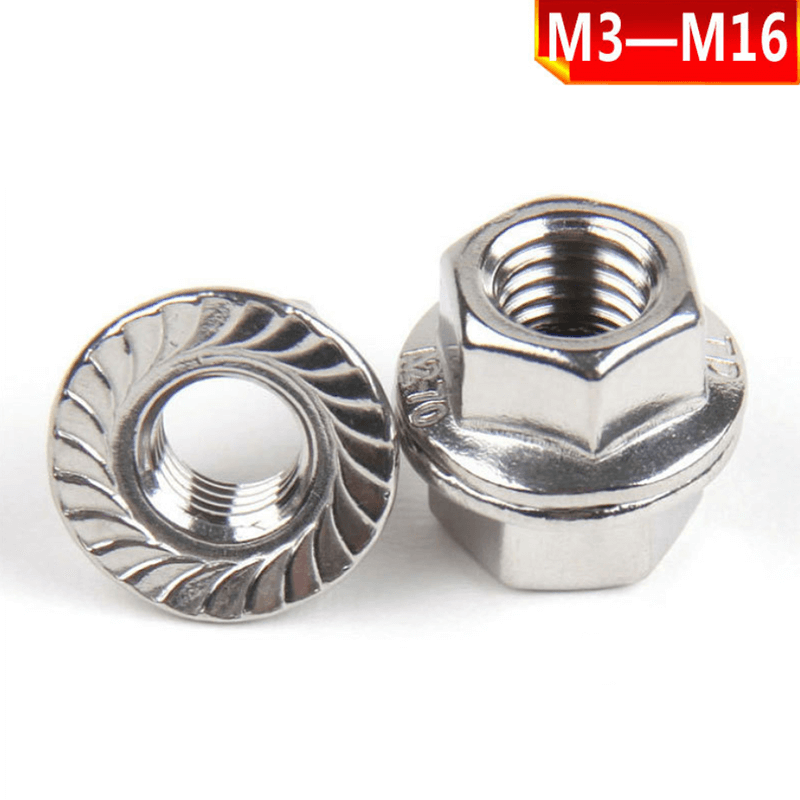 304 stainless steel flange nut, stainless steel non-slip nut, 201 stainless steel hexagonal flange nut M3-M16.