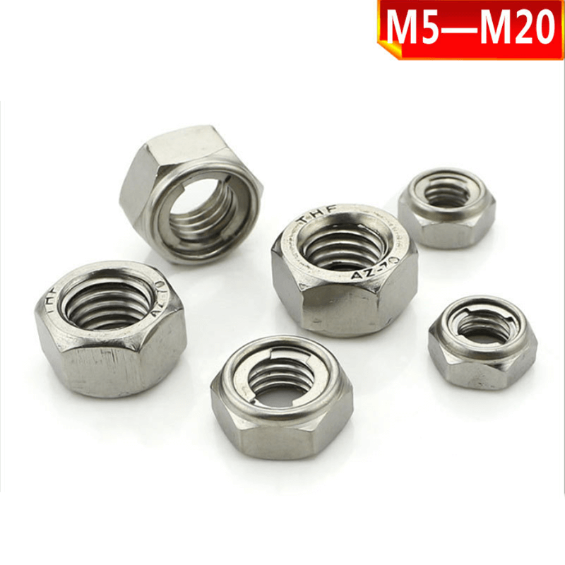 304 stainless steel metal lock nut, metal self-locking nut, locknut M5-M20