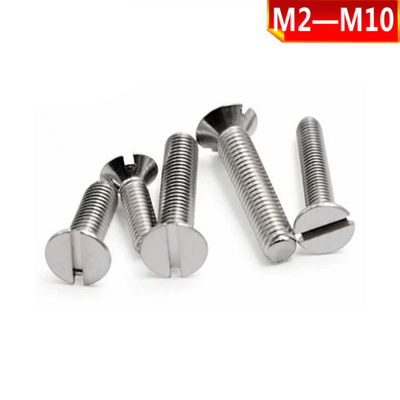 316 stainless steel slotted countersunk head machine screws, slotted flat head screws, slotted screws M2-M10